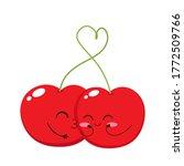 two cute cherries. red cherry...   Shutterstock .eps vector #1772509766