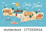 crete island map with... | Shutterstock .eps vector #1772520416
