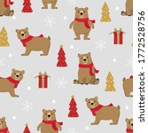 cute brown bear and christmas... | Shutterstock .eps vector #1772528756