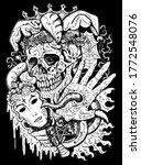 fantasy joker skull with mask...   Shutterstock .eps vector #1772548076