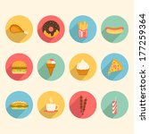 fast food colorful flat design... | Shutterstock . vector #177259364