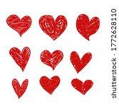 heart vector set hand drawing.... | Shutterstock .eps vector #1772628110