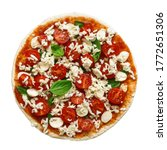 Raw Pizza Margherita Isolated...