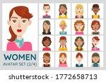 female avatar set. collection...   Shutterstock .eps vector #1772658713