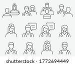 doctor and nurse line icons set.... | Shutterstock .eps vector #1772694449