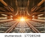 cargo train platform at sunset...   Shutterstock . vector #177285248