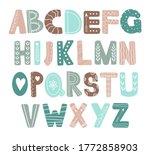 hand drawn alphabet in... | Shutterstock .eps vector #1772858903