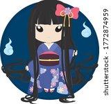 japanese long hair ghost doll  | Shutterstock .eps vector #1772874959