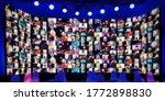 Blurred Wide Led Screen Of Many ...