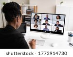 african woman video conference... | Shutterstock . vector #1772914730