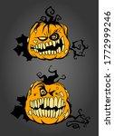 smiling pumpkins  hand drawn... | Shutterstock . vector #1772999246