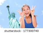 Tourist At Statue Of Liberty ...