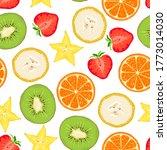 tropical fruits seamless... | Shutterstock .eps vector #1773014030