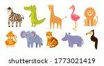 vector set of jungle animals on ... | Shutterstock .eps vector #1773021419