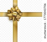 golden bow with ribbon on... | Shutterstock .eps vector #1773043706