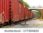 rail road train coming through... | Shutterstock . vector #177304820