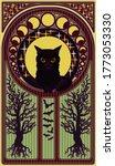 Black Cat And Moon  Art Nouveau ...