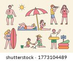 vacationers are enjoying their... | Shutterstock .eps vector #1773104489