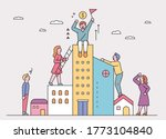 people are trying to climb onto ... | Shutterstock .eps vector #1773104840
