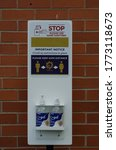 Small photo of COVID-19 outdoor hand sanitise station, July 04, 2020, Callow End / England