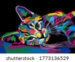 Colorful Funny Cat On Pop Art...