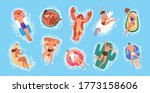 set of resting people sunbathe... | Shutterstock .eps vector #1773158606