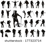 People with backpack vector silhouettes set. EPS 8