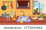 kitchen sink with dirty dishes... | Shutterstock .eps vector #1773242963