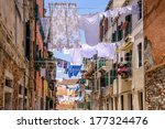 Stock photo washing lines in an alley in venice italy 177324476