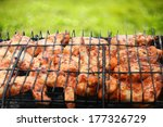 chicken wing on the bbq.... | Shutterstock . vector #177326729