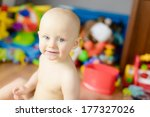 sitting naked baby smiling... | Shutterstock . vector #177327026