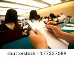 people writing on the document... | Shutterstock . vector #177327089