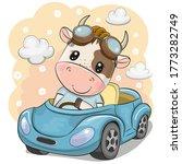 cute cartoon bull in glasses... | Shutterstock .eps vector #1773282749