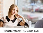 young attractive lady having... | Shutterstock . vector #177335168