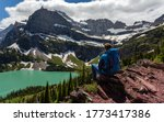 Hiker In Glacier National Park...