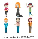 colorful vector avatars | Shutterstock .eps vector #177344570