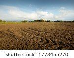 Plowed Agricultural Field Under ...