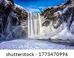 Winter Mountain Waterfall Snow...