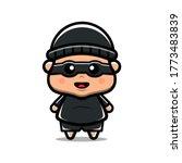 Cute Thief Boy Vector Icon...