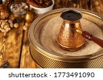 Turkish Coffee In Cezve On The...