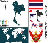 Vector map of Thailand with regions, coat of arms and location on world map