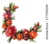 watercolor wreath of flowers... | Shutterstock . vector #177350246