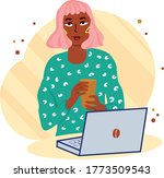 pink haired hipster girl with... | Shutterstock .eps vector #1773509543