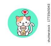 a cute cat is drinking boba tea ... | Shutterstock .eps vector #1773565043