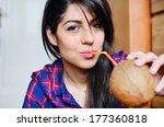 beautiful girl  drinking... | Shutterstock . vector #177360818