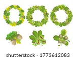 green wreath with leaves. set... | Shutterstock .eps vector #1773612083