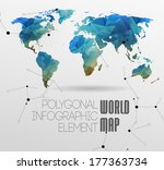 polygonal world map and... | Shutterstock .eps vector #177363734