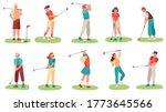 golf playing. men and women... | Shutterstock .eps vector #1773645566