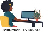 woman working at home office....   Shutterstock .eps vector #1773802730