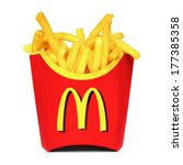 MOSCOW, RUSSIA-JULY 7, 2013: McDonald's French fries. McDonald's Corporation is the world's largest chain of hamburger fast food restaurants, serving around 68 million customers daily in 119 countries - stock photo